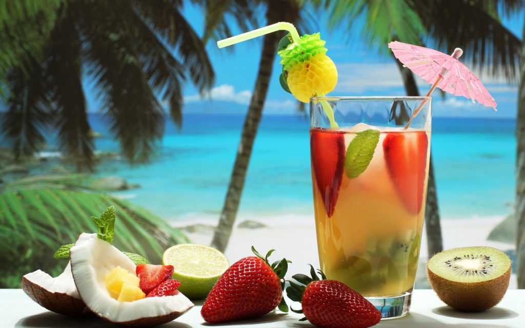 cocktails drinks fruit coconuts strawberries kiwis fruit trees tropical