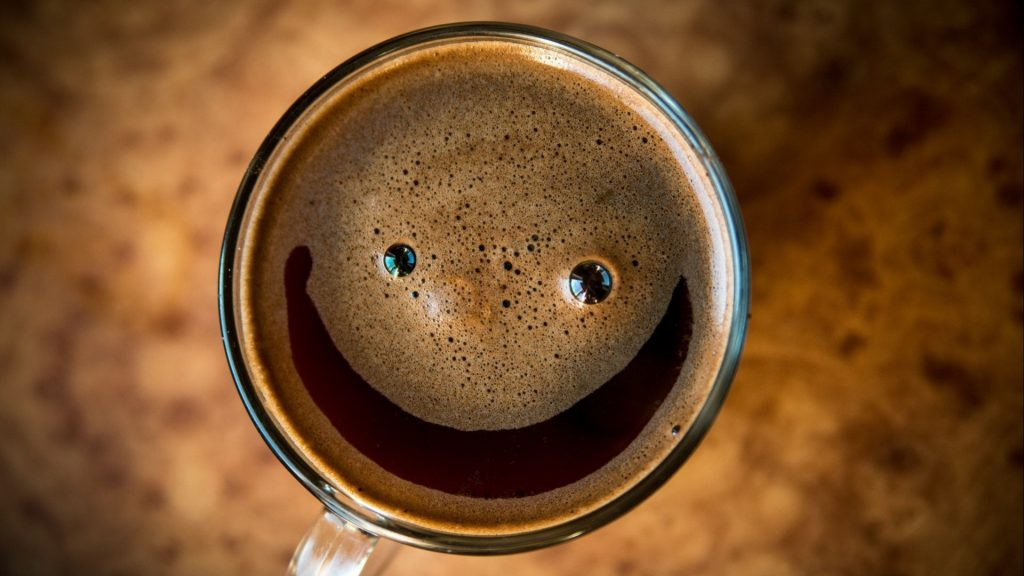 coffee top view smiling smile