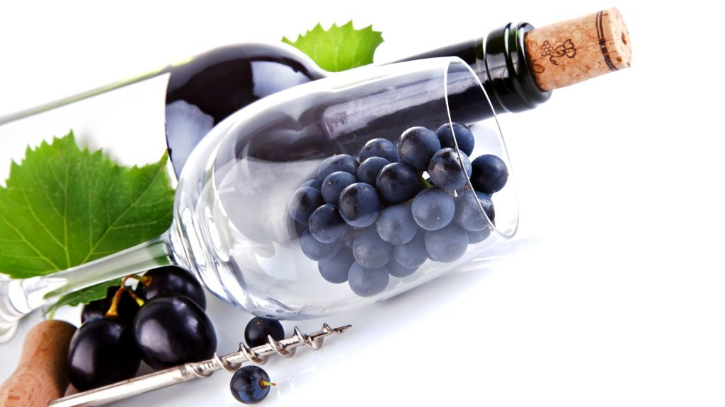 food wine grapes white background