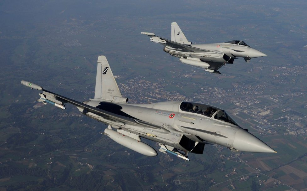 Eurofighter Typhoon Fighter planes aircraft construction vehicles skies Jet 10