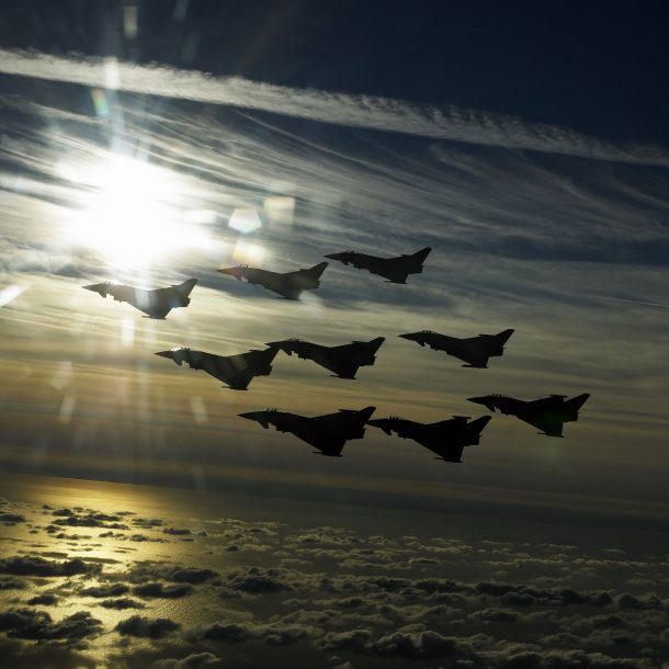 Eurofighter Typhoon Fighter planes aircraft construction vehicles skies Jet 11 scaled