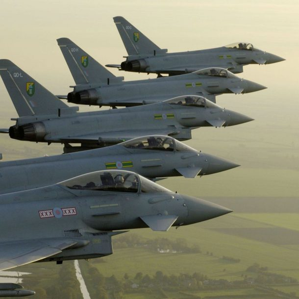 Eurofighter Typhoon Fighter planes aircraft construction vehicles skies Jet 8