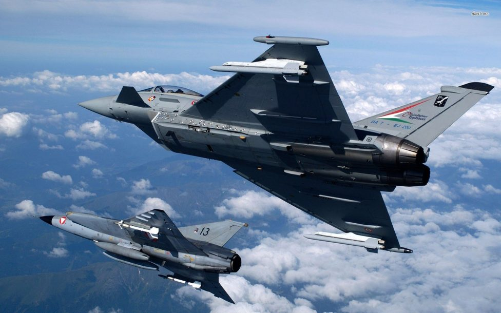 Eurofighter Typhoon Fighter planes aircraft construction vehicles skies Jet 9