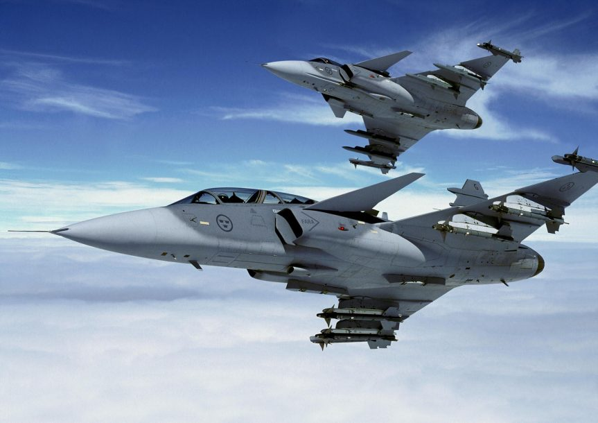 Gripen Fighter planes aircraft construction vehicles skies Jet 4