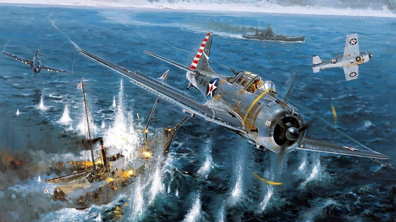 WW2 World War II aircraft military McDonnell Douglas Dauntless Dive bomber pacific Plane planes military aircraft 4