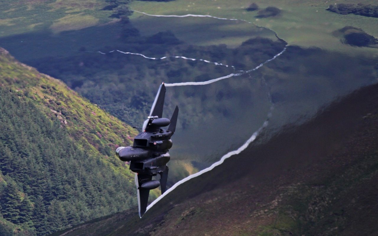 planes Mach Loop Wales mountains trees military war F 15 Eagle aircraft