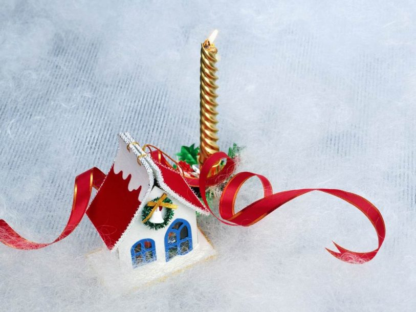 Christmas candle and miniature house wallpaper