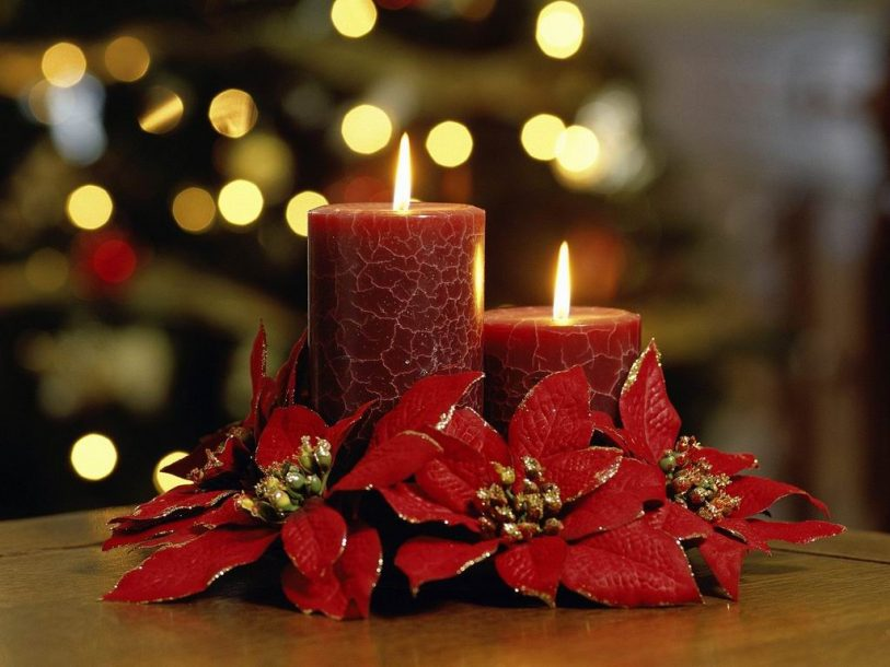 Christmas candles flowers 2 wallpaper