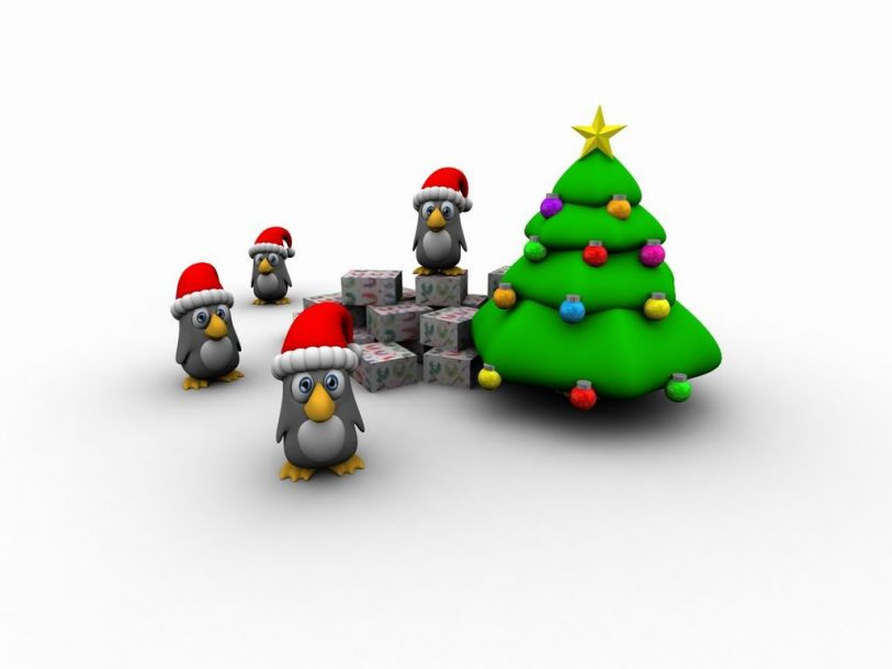 Christmas penguins and tree wallpaper