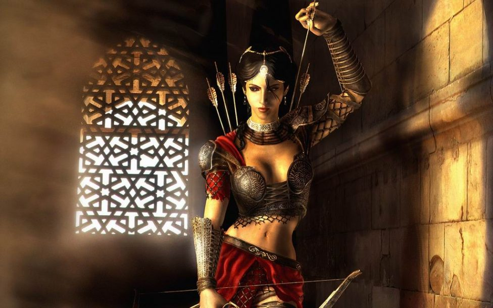 Game woman with bow and arrows wallpaper